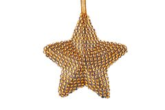 Golden Christmas star ornament on ribbon isolated on white background royalty free stock images