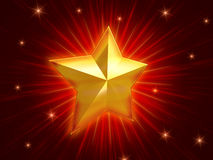 Golden Christmas star over red background radiate. Golden christmas star over red background with lights and rays Stock Images