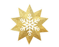 Golden Christmas star with snowflake isolated on white background royalty free stock image