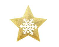 Golden Christmas star with snowflake isolated on white background stock image