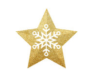 Golden Christmas star with snowflake isolated on white. Background royalty free stock image