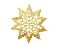 Golden Christmas star with snowflake isolated on white. Background stock images