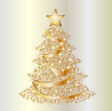 Golden christmas star tree Royalty Free Stock Photography