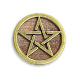 Golden Christmas Star. On wooden isolated on white background with clipping path royalty free stock photo