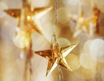 Golden Christmas stars Stock Image