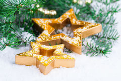 Golden Christmas stars Royalty Free Stock Photography