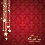 Golden Christmas Stars Red Background Ornaments Stock Photo
