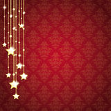 Golden Christmas Stars Red Background Ornaments Stock Photos