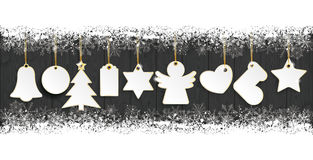 Golden Christmas Stickers Snow Banner Wood. Golden christmas stickers on the wooden background vector illustration