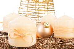 Golden christmas still life. royalty free stock photos