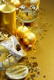Golden Christmas still life. Stock Image