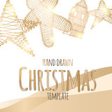 Golden Christmas template with holiday decorations. Based on hand drawn sketch. Great for greeting cards and holiday design Stock Photos