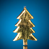 Golden christmas tree Stock Photo