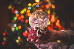 Christmas is coming. Christmas tree bokeh royalty free stock image