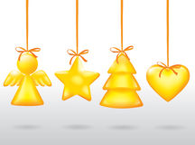 Golden Christmas toy Stock Photography