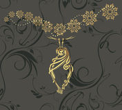 Golden Christmas toy on the dark ornamental background royalty free stock photography