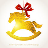 Golden Christmas toy with ribbons. Place for text. Horse, symbol of 2014. Element for Christmas design. It can be used for decorating of invitations, cards stock illustration