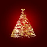 Golden christmas tree vector illustration