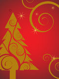 Golden christmas tree Stock Image