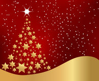 Golden Christmas Tree. Made of Stars Stock Photo