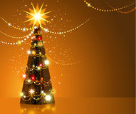 Golden Christmas tree Stock Photos
