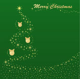 Golden Christmas tree. Vector illustration Christmas postcard. Christmas tree lights Royalty Free Stock Photography