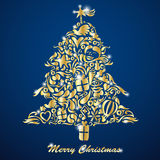 Golden Christmas Tree. Made from little symbols Stock Photography