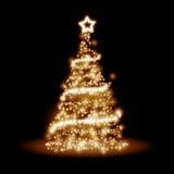 Golden christmas tree Stock Photography