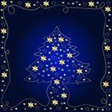 Golden Christmas Tree. A beautiful illustration of a golden Christmas tree on a blue background Stock Image