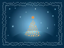 Golden Christmas tree. Winter night background, shining stars and white snowflake. Vector illustration Royalty Free Stock Photos