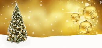 Free Golden Christmas Tree Balls Banner , Abstract Background Snow Royalty Free Stock Photography - 203218567