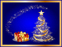 golden christmas tree on blue background Stock Images