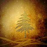 Golden Christmas tree, Christmas greeting card background Royalty Free Stock Photo