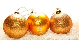 Golden christmas tree decoration Stock Images