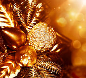 Golden Christmas tree decoration Stock Image