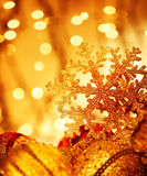 Golden Christmas tree decorations Royalty Free Stock Image
