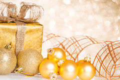 Golden Christmas tree decorations Royalty Free Stock Photo