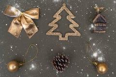 Golden Christmas tree decorations. Ball, bump, fir, bow royalty free stock photo