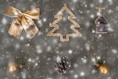 Golden Christmas tree decorations. Ball, bump, fir, bow stock photography