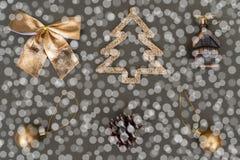 Golden Christmas tree decorations. Ball, bump, fir, bow stock image