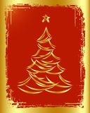Golden Christmas tree design. Stock Images