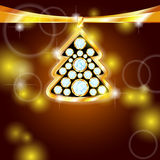 Golden Christmas tree with gems Stock Images