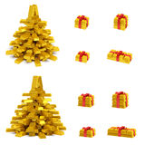 Golden Christmas tree and gift boxes. New Year (Christmas) creative concept (set). Christmas tree (spruce) and gift boxes with red ribbon in the form of golden Stock Photo