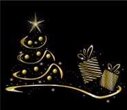 Golden christmas tree Royalty Free Stock Photo