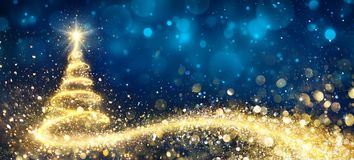Golden Christmas Tree. In Abstract Night royalty free illustration