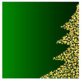 Golden christmas tree on green background Stock Image