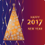 Golden Christmas tree. Happy new year. Design a Christmas greeting card, invitations to festive new year`s eve Stock Photos