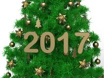 2017 golden Christmas tree illustration. 3D render illustration of a Christmas tree with golden ornaments and the year 2017 positioned in the middle of the tree Royalty Free Illustration