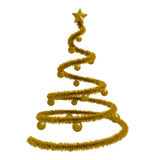 Golden christmas tree isolated Stock Images
