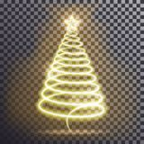 Golden Christmas tree. Light tree effect with big Yellow star and sparkle isolated on transparent b. Ackground. Neon lights swirl. Decoration glowing line for Vector Illustration